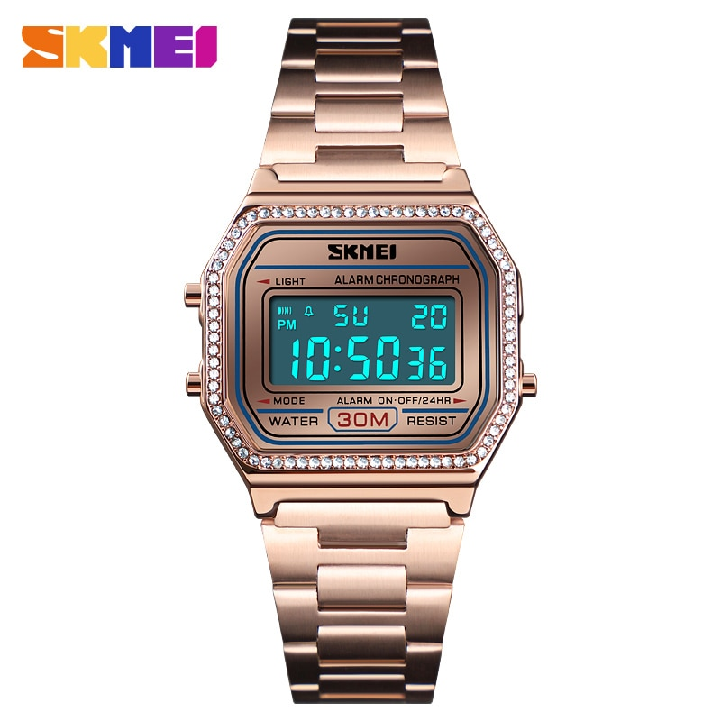 2019 SKMEI New Fashion Women Watch Digital Watches Waterproof Week Display Case Alloy Digital Wristwatch Relogio Feminino New enlarge