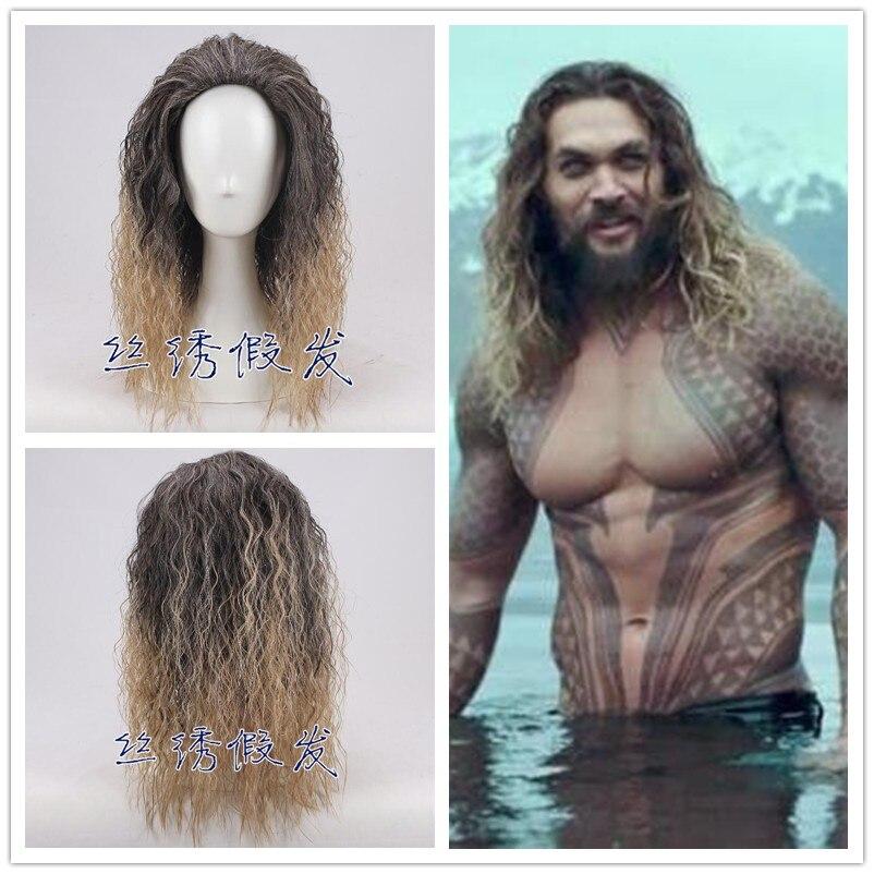 Film Justice League Aquaman perruque Aquaman jeu de rôle poséidon cheveux bande dessinée Cosplay Costume perruques Jason Momoa