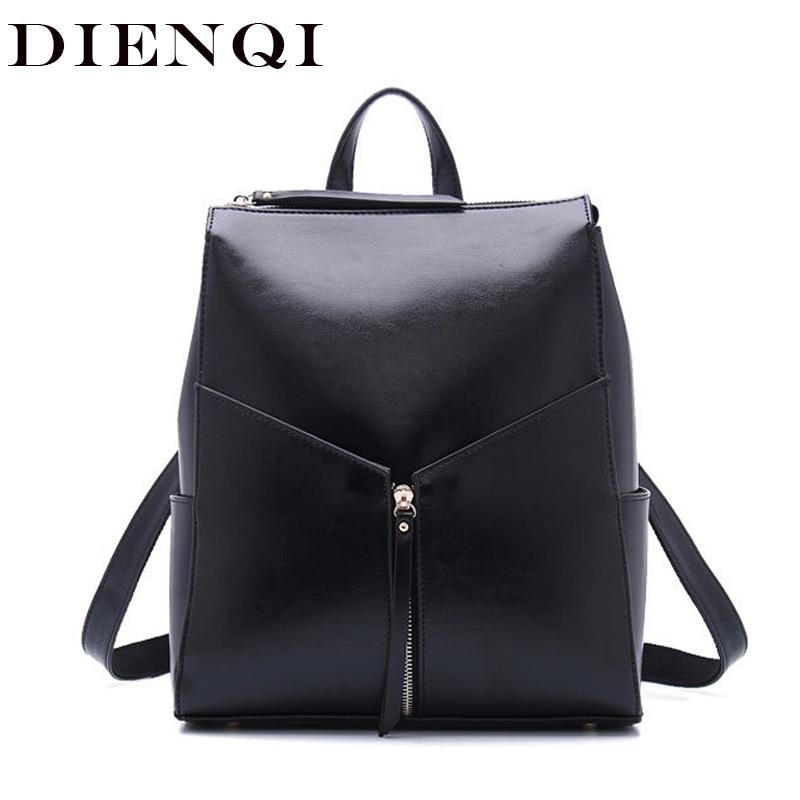 DIENQI الموضة الإناث جلد طبيعي المرأة على ظهره حقيبة ظهر للفتيات حقيبة مدرسية على ظهره حقيبة مدرسية 2020
