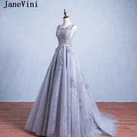 janevini light gray mother of the bride dresses with appliques sequined a line sheer scoop neck backless lace long evening gowns