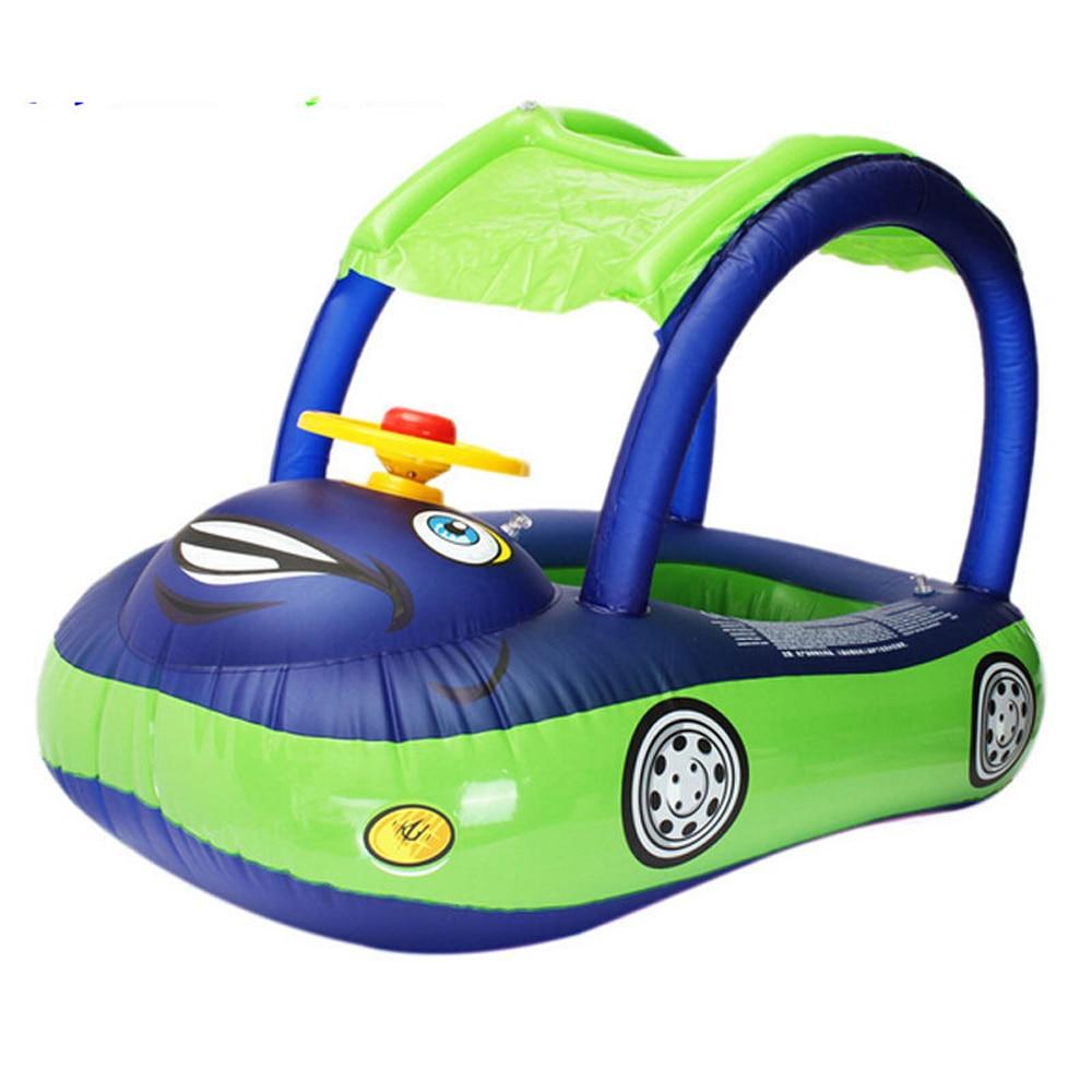 Flotador de seguridad para piscina de flamenco para bebé, flotador inflable de natación con asiento con sombrilla, balsa, diversión con agua, juguetes de verano
