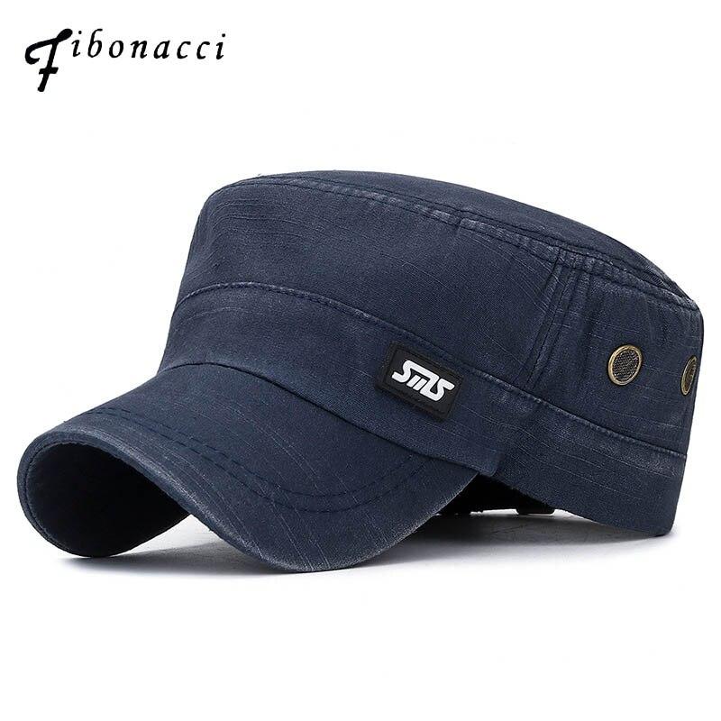 Fibonacci clássico homem militar boné lavado algodão plana chapéu do exército tático