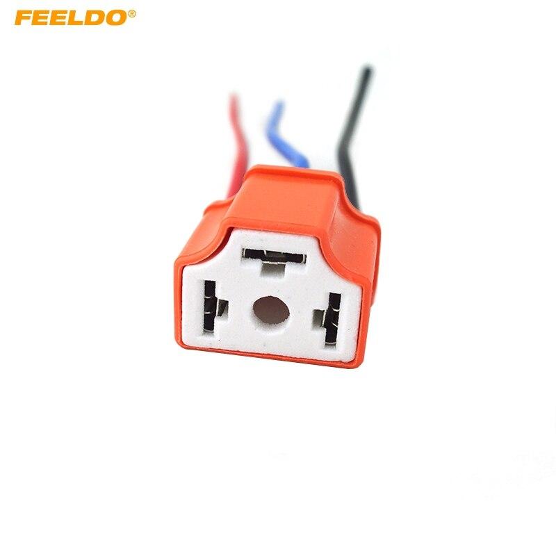 FEELDO 50Pcs H4 Female Ceramic Headlight Connector Pigtail Plug Adapter Socket  #FD-5464