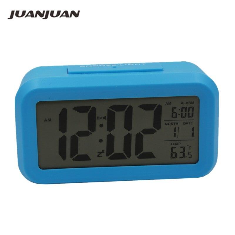 Digital Alarm Clock Large LCD Display Snooze Electronic Kids Clock Light Sensor Nightlight Office Table Clock 40%Off