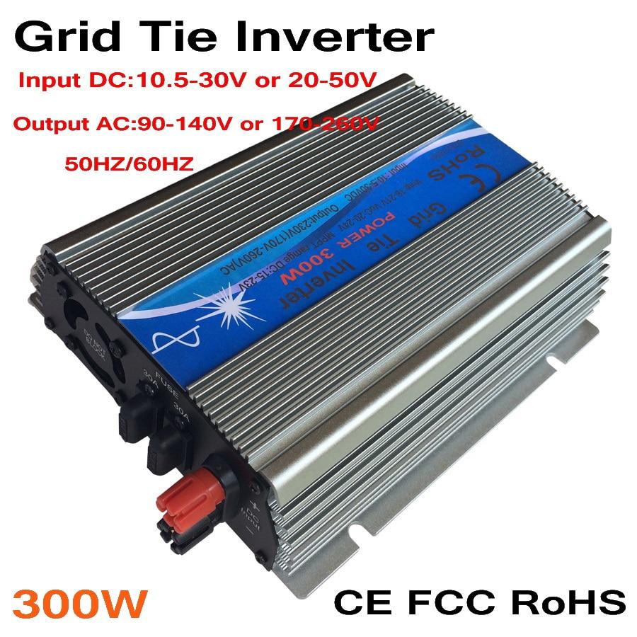 عاكس متصل بالشبكة MPPT 300W ، 10.5-30V/ 20-50VDC إلى AC 110V/220V ، خرج موجة جيبية نقية ، طاقة الرياح الشمسية