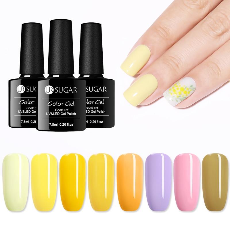 UR SUGAR Yellow Series Gel Nail Polish Soak Off UV Glitter Gel Varnish Color Nail Art Decoration Set LED  varnish