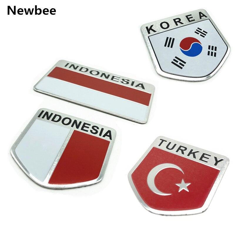 Aleación de aluminio ASIA Corea INDONESIA Turquía Bandera Nacional emblema coche pegatina accesorios de motocicleta para Toyota Ford Hyundai Kia