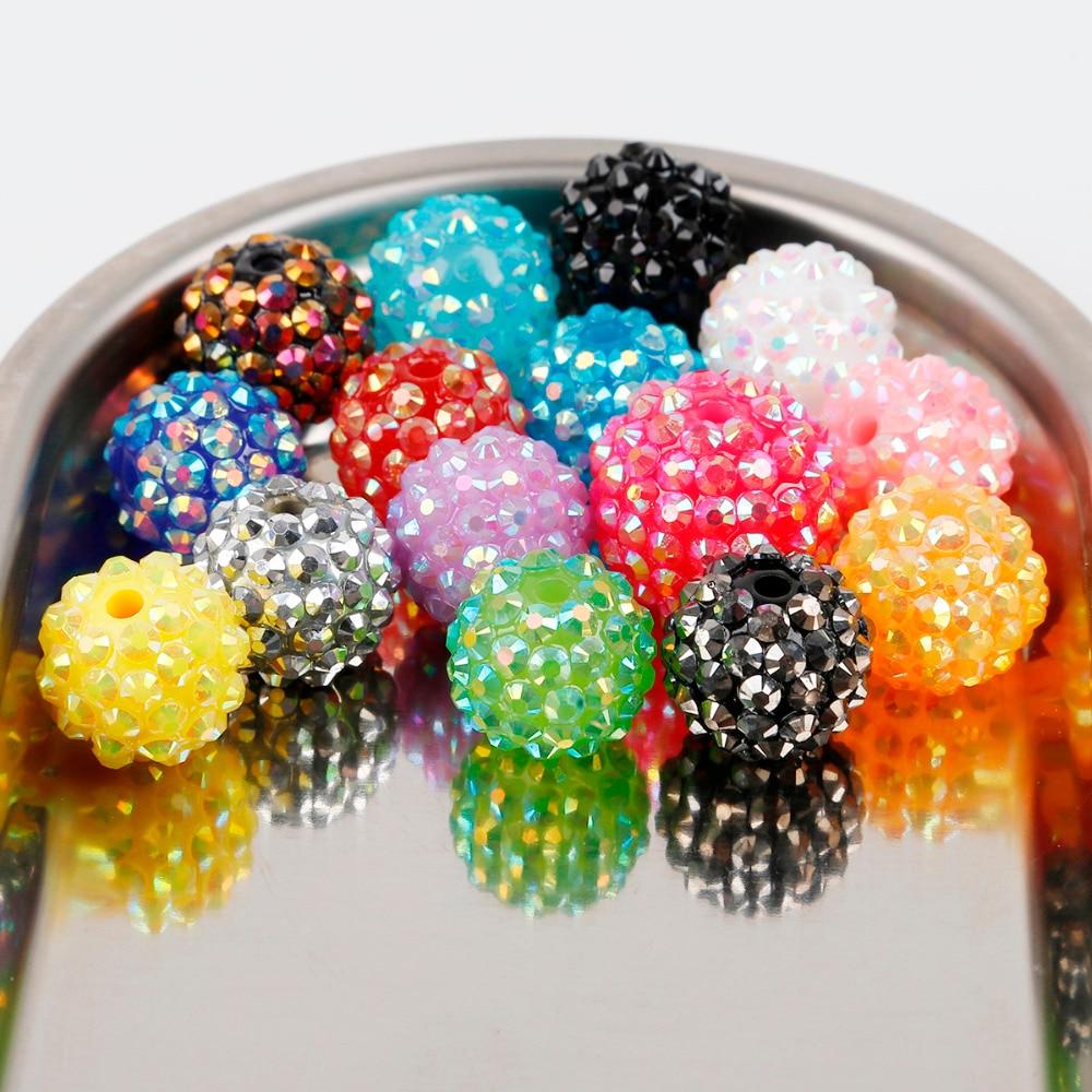 Quente 12mm/14mm/16mm/18mm/20mm forma diy contas de jóias que faz 5/10 pces redondo robusto strass resina solta espaçador contas buraco 2mm