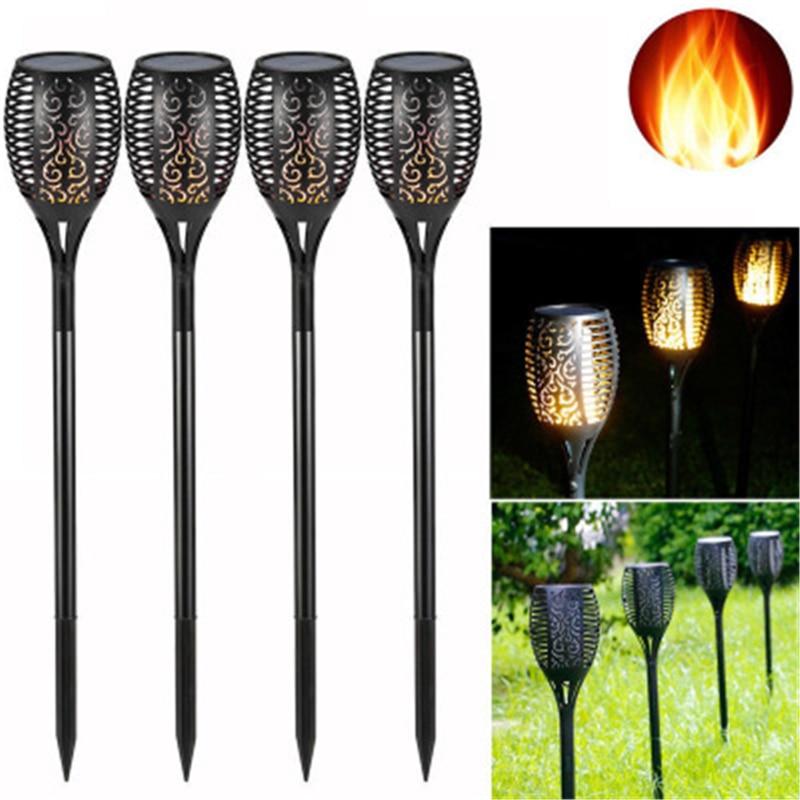 1 Pcs OR 2 Pcs 96 LED Waterproof Flickering Flame Solar Torch Light Garden Lamp Outdoor Landscape Decoration Garden Lawn Light