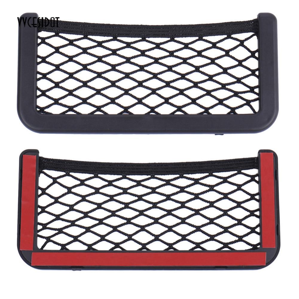 Maleta organizadora de bolso, 20*8 cm 8*15 cm rede universal assento de carro lateral saco de armazenamento suporte de telefone adesivo bolsa auto acessórios