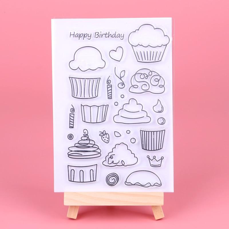 Feliz cumpleaños/pastel transparente sellos transparentes para DIY Scrapbooking/fabricación de tarjetas/niños Navidad diversión Decoración suministros