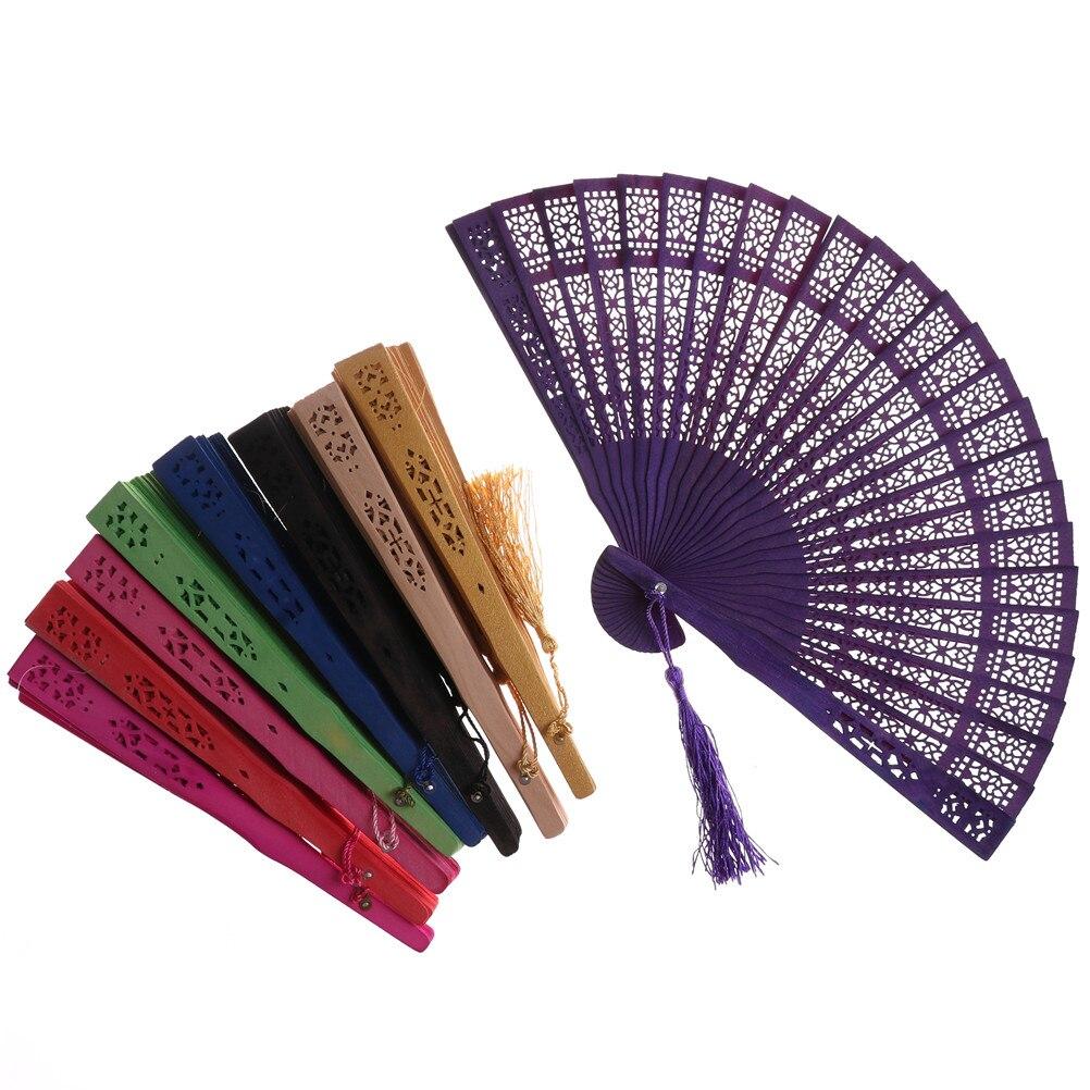 Abanico Chino Vintage de madera tallada a mano, abanico de bolsillo, boda, fiesta nupcial, favores, abanico plegable multicolor, regalos, decoración del hogar