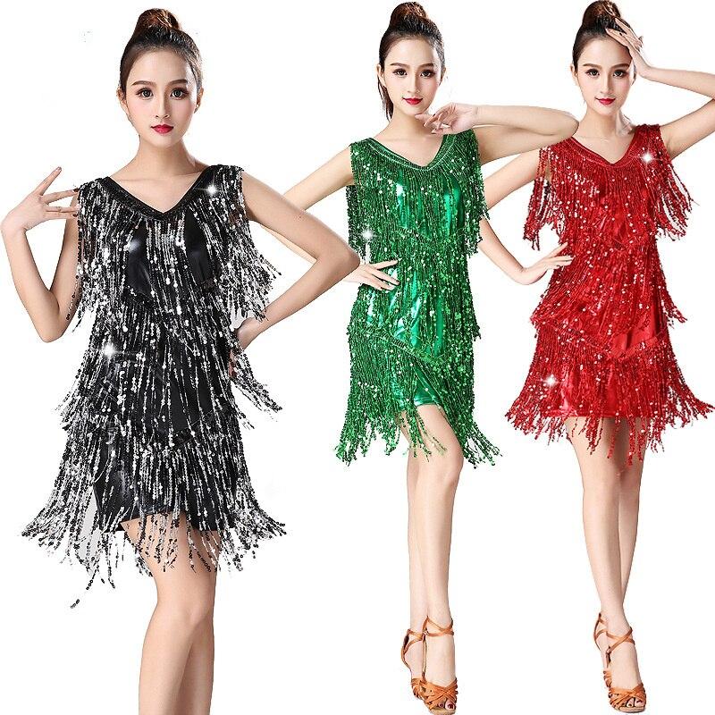 فستان رقص لاتيني للكبار ، مثير ، مطرز بشراشيب ، زي أداء مسرحي ، ياقة على شكل v ، مسابقات هامشية