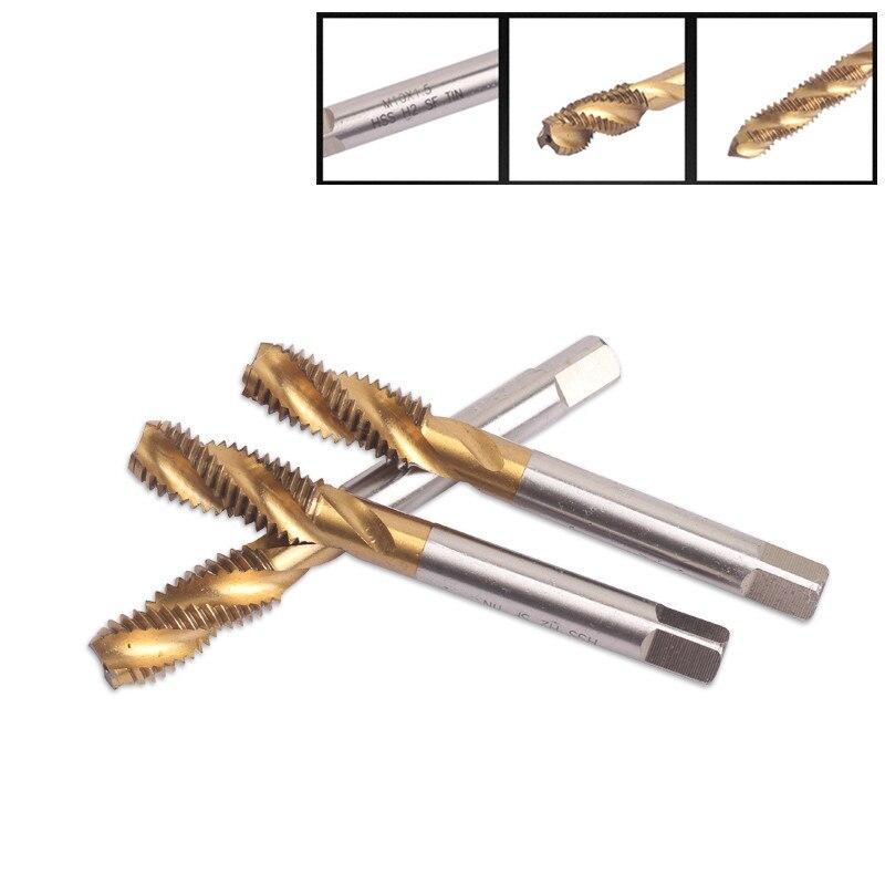 Grifos de rosca métrica de flauta en espiral, tornillo de máquina de flauta recta y juego de enchufes para HSS con revestimiento de Material de titanio