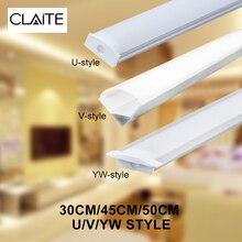 CLAITE 30cm 45cm 50cm U V YW trois Style Aluminium porte chaîne pour LED bande lumineuse barre sous armoire lampe cuisine 1.8cm de large