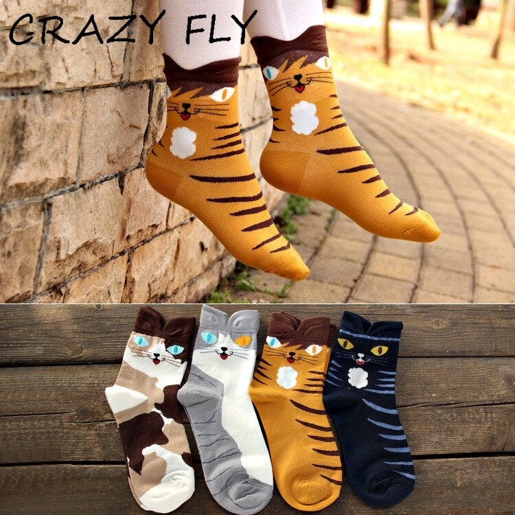 CRAZY FLY New Arrivals Fashion Wildcat Series Cotton Winter Socks Cartoon Women Funny Animal Socks New Year Gift