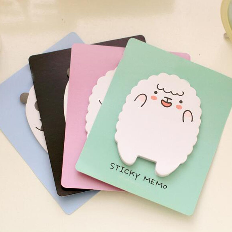 10 Pieces Cute Little Lamb Sticky Panda Shape Notepad Learning Stationery Note Book Tag Label Student Decoration Gift