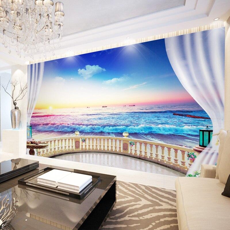 Papel pintado personalizado beibehang, Mural 3D con balcón, vista al mar, fotografía, TV, fondo, papel de pared, sala de estar, dormitorio, mural 3d