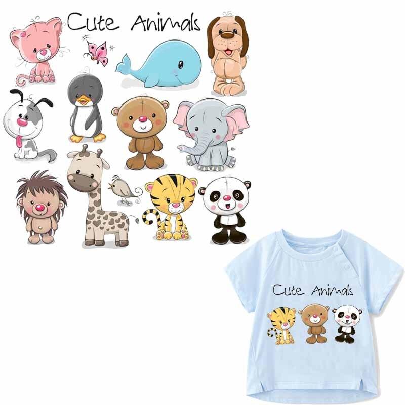 Lindos oso y perro Animal juego de parches lavables con hierro en transferencia para camiseta niños regalo DIY calcomanías para ropa aplicaciones de delfín