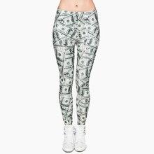 Pantalon imprimé en Dollar argent femme, pantalon extensible pour femmes