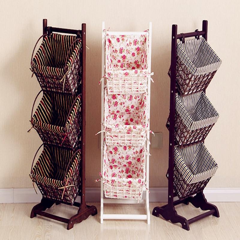 2017 Magazine rack ground living room receive basket real wood the cane basket newspaper stand multi-level rural receive frame