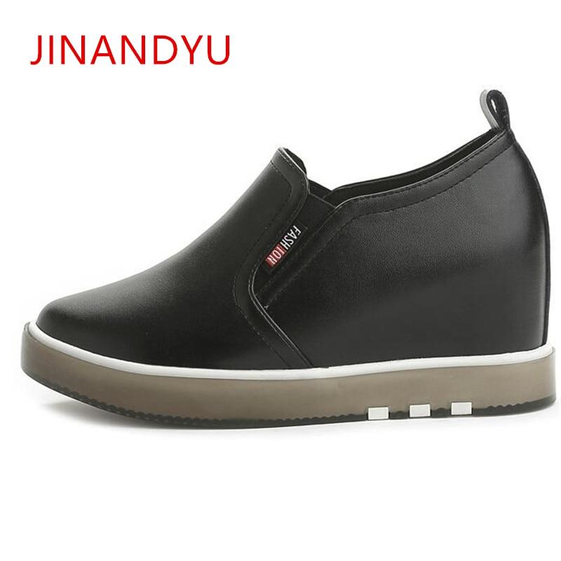 Sapatos de cunha para mulher novo grosso-soled preto branco sapatos casuais mulher sapatilha com calcanhar escondido mocassins ao ar livre designe tênis