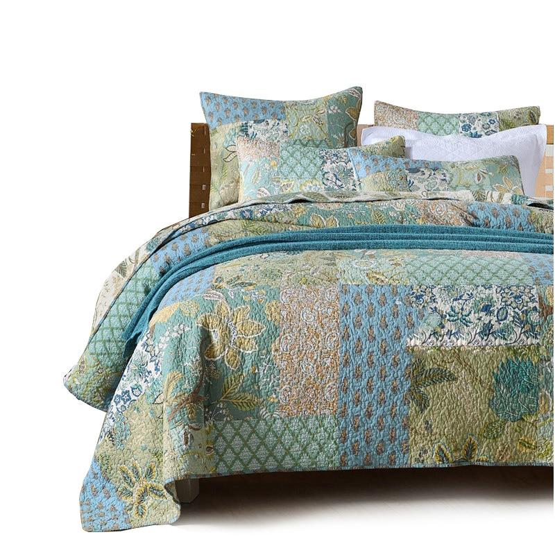 CHAUSUB خليط لحاف من القطن مجموعة 3 قطعة مفرش مبطن على لحاف السرير المخدة غطاء الملك الحجم بطانية سميكة للنوم