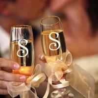 Autocollants de mariage 10 pieces lot  autocollants monogramme pour verres a vin  douche nuptiale  lettres initiales decoration de mariage