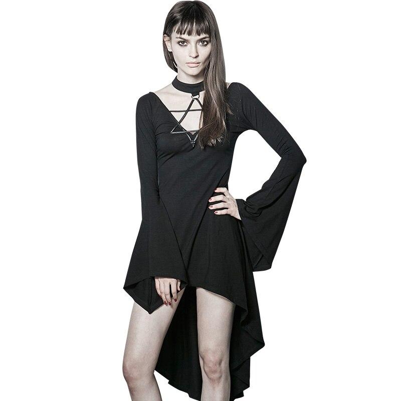 Gótico Punk mujer Sexy sirena negro oscuro Vintage Flare manga asimétrica vestido All-match femenino Mini vestidos ropa de verano