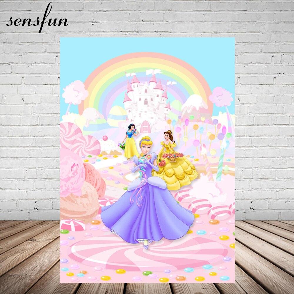 Sensfun Fairy Tale Girls Princess Castle Rainbow Little Girl Pink Photography Backdrops For Birthday Party Vinyl 5x7FT