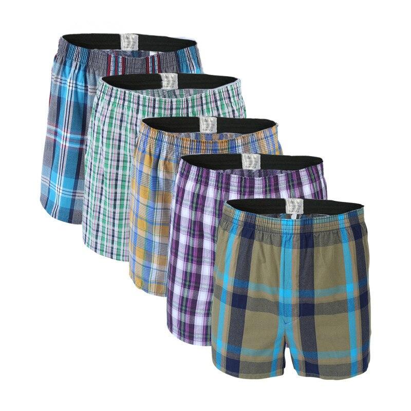 5 stücke Herren Unterwäsche Boxer Shorts Casual Baumwolle Schlaf Unterhose Qualität Plaid Lose Komfortable Homewear Gestreiften Pfeil Höschen