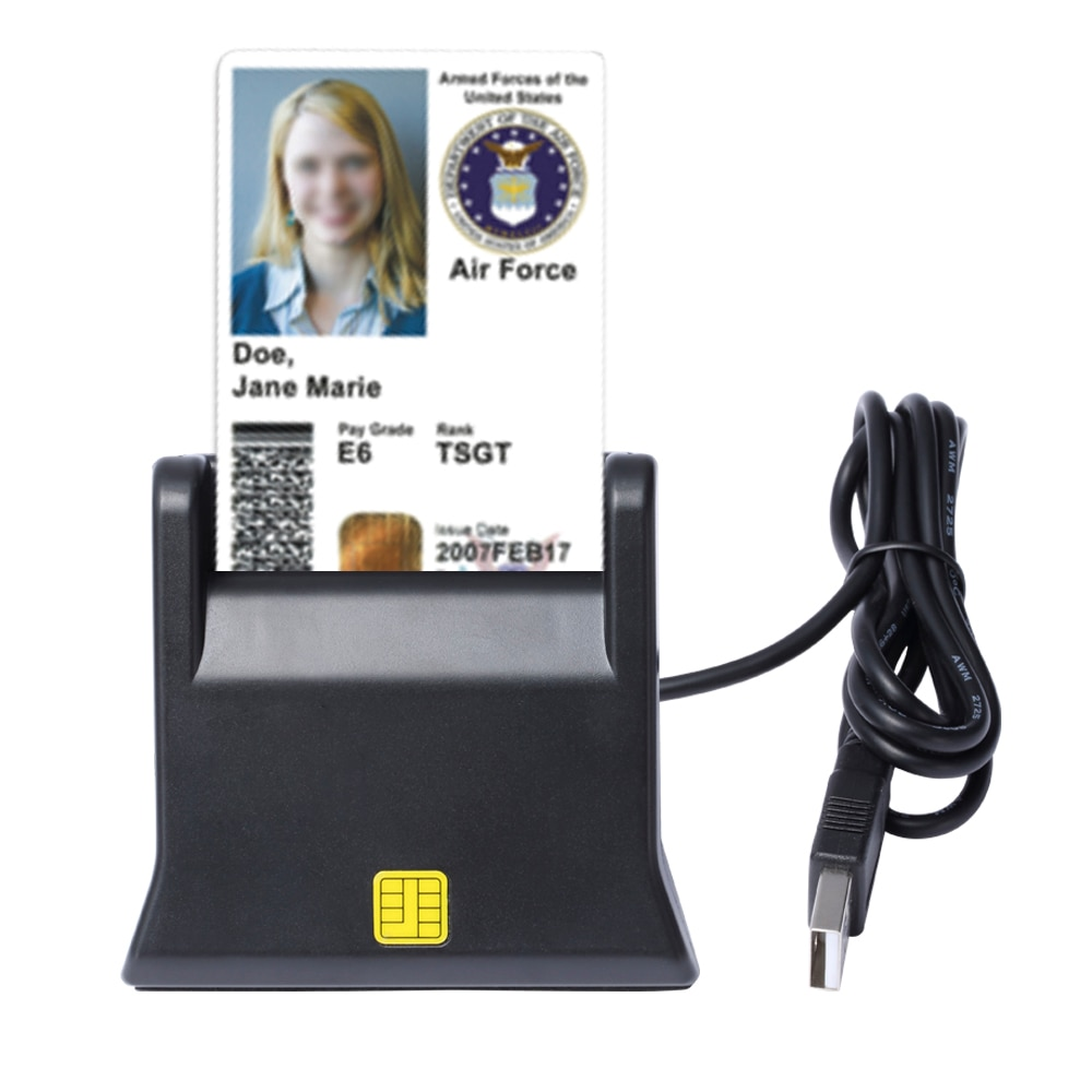 ZW-12026-3 EMV USB Smart Card Reader Writer DOD Military USB Common Access CAC Smart Card Reader ISO7816 For SIM /ATM/IC/ID Card