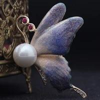 donia jewelry fashion cute violetta purple butterfly brooch female christmas ornaments imitation pearl hood and brochet bijoux