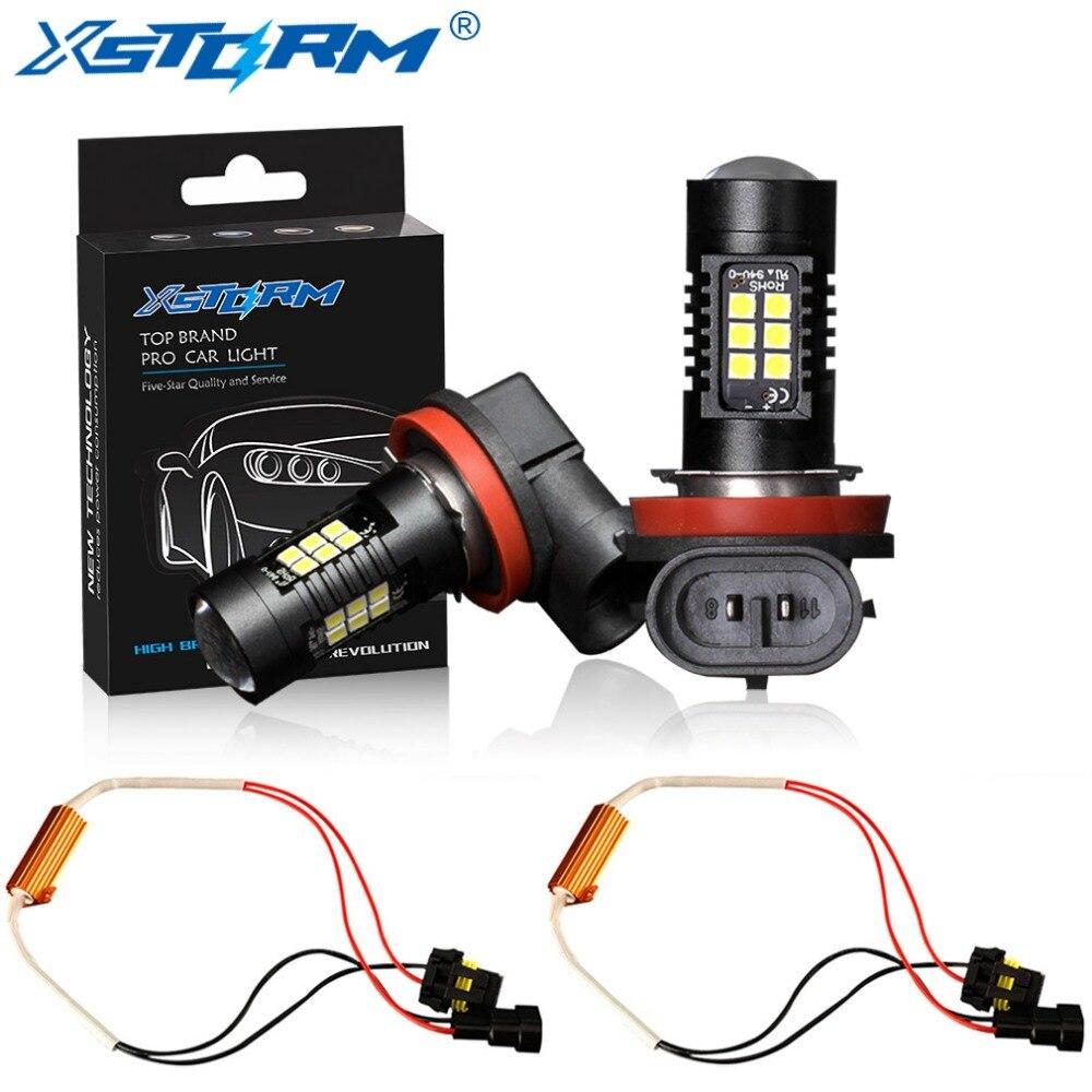 2 uds H8 H11 bombilla Led HB4 Led 9006 HB3 9005 luces antiniebla Canbus sin Error 1200LM 6000K 12V blanco DRL lámpara diurna para coche