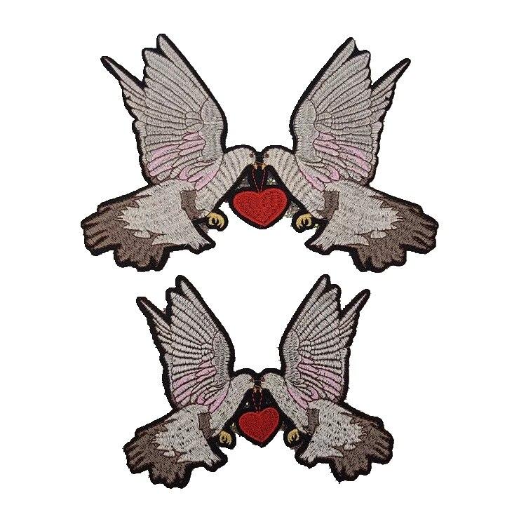 Juego de 2 parches de pájaro de Paz de amor adhesivos para planchado de Paloma parche bordado para ropa DIY Patchwork paloma insignia apliques