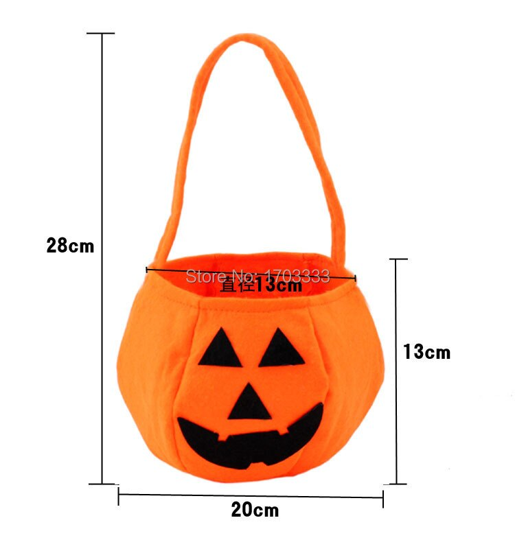 Trick or Treat Hallowen Smile Pumpkin Bag Kids Candy Bag Funny Cute Candy Handbag Housekeeping & Organizers #GH-64