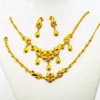 golden flower classic bridal jewelry set yellow gold filled womens necklacebraceletearrings set