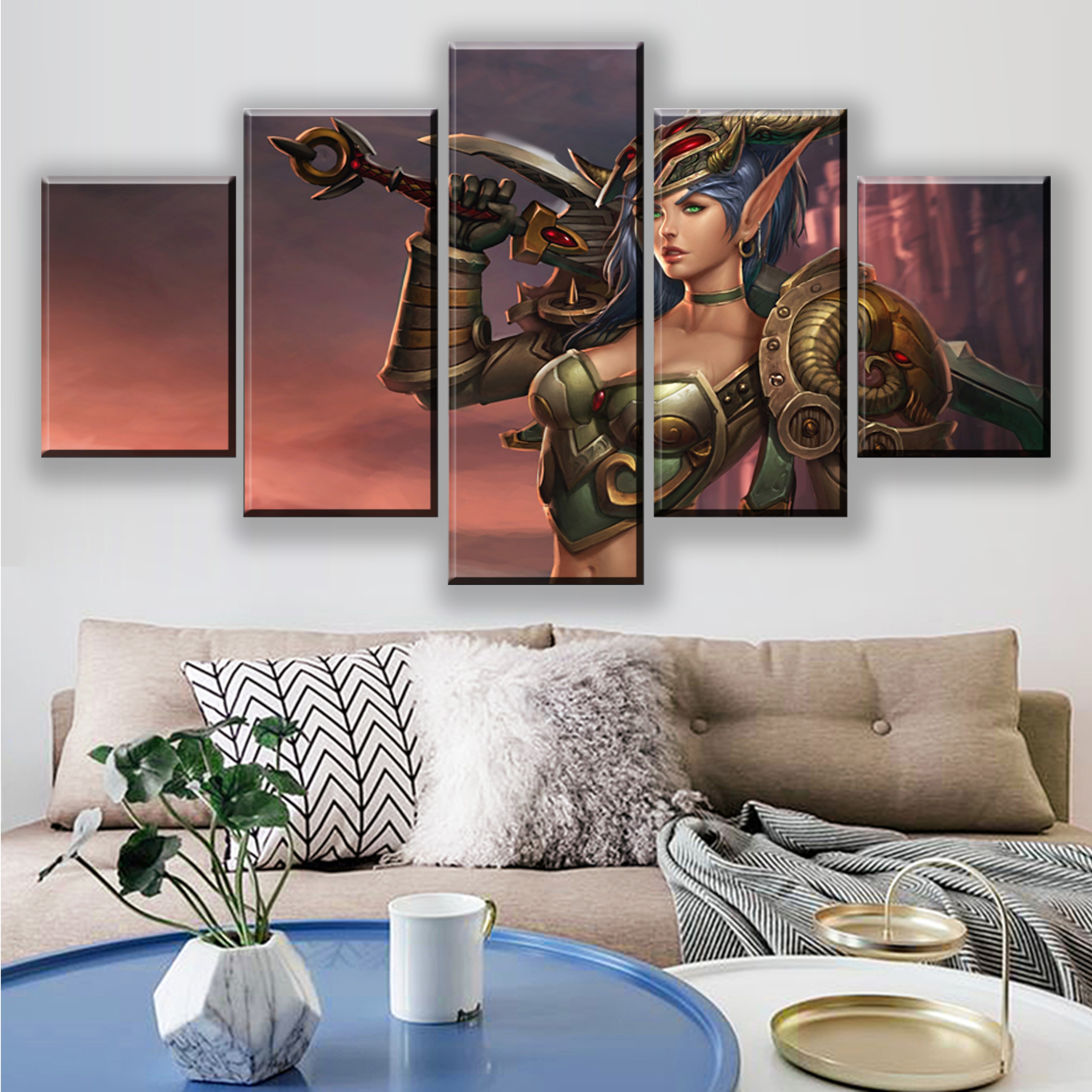 Pósteres de videojuegos HD de 5 piezas, pósteres de World of Warframe, pinturas en lienzo, cuadro decorativo para el hogar