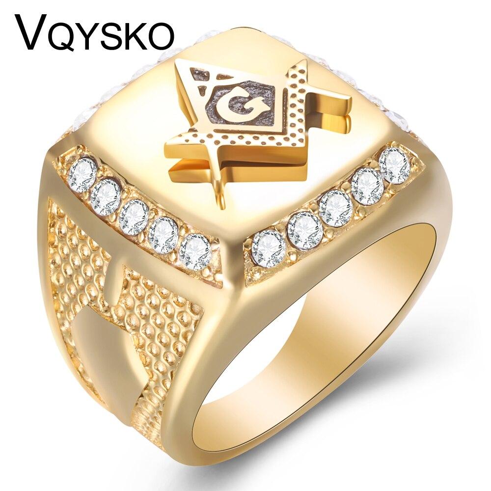Мужское кольцо из нержавеющей стали, Золотое кольцо из нержавеющей стали с фианитами