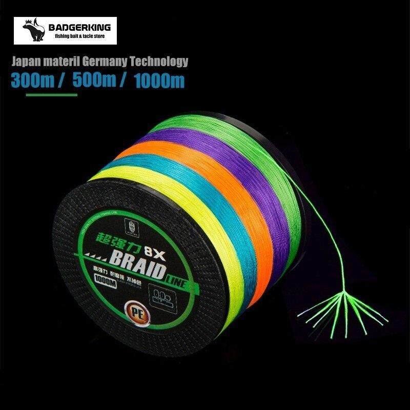 braided fishing line 8 strands cord 300m 500m 1000m multifilament 10m/color super quality Japan Material  braid line fish line