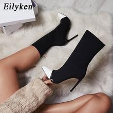 Eilyken 2020 nouvelle Arriva Stretch tissu femmes bottines bout pointu talons hauts Slip-On Sexy chaussette talons Chelsea bottes taille 35- 42
