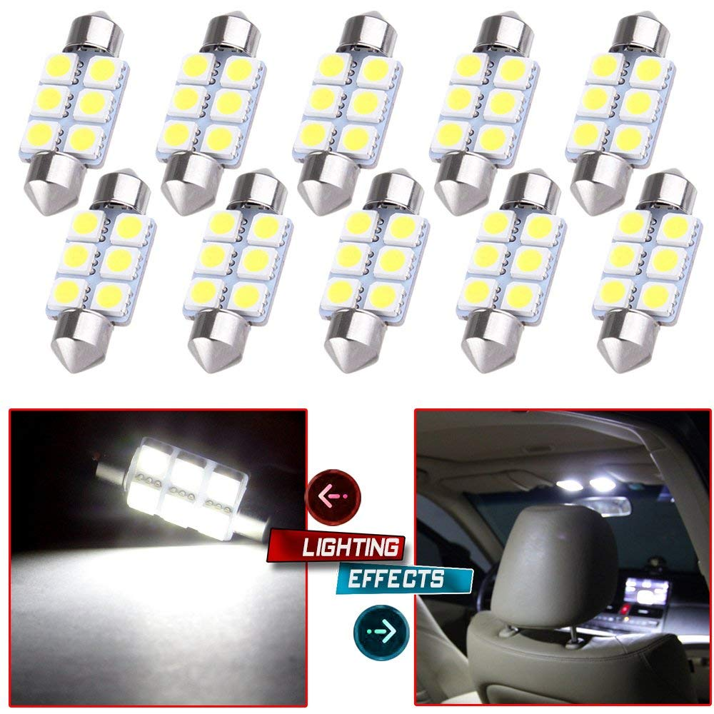 10 piezas 31mm 36mm 39mm 5050 6SMD Micro General Interior Festoon Dome bombillas de luz LED lámpara DC12V luz diurna blanca
