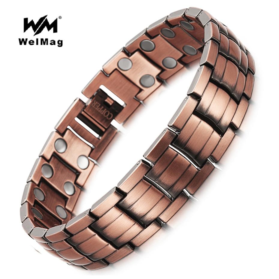 Мужские медные браслеты WelMag, медные браслеты с двойным магнитом