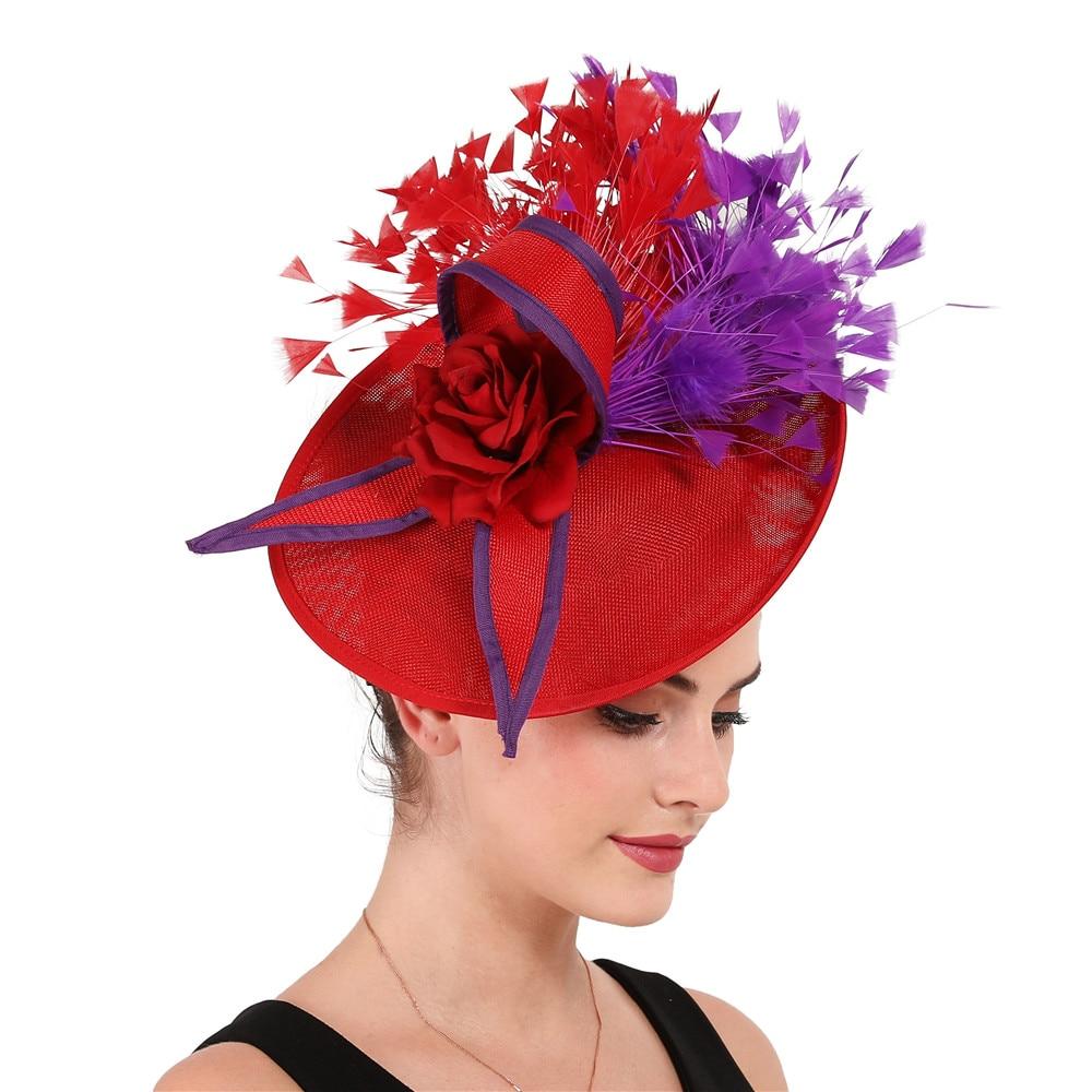 أنيقة الأرجواني والأحمر ريشة الفاسناتور الزفاف الزفاف مشبك شعر قبعة للحزب كوكتيل خوذة سيدة نمط الأزهار أغطية الرأس