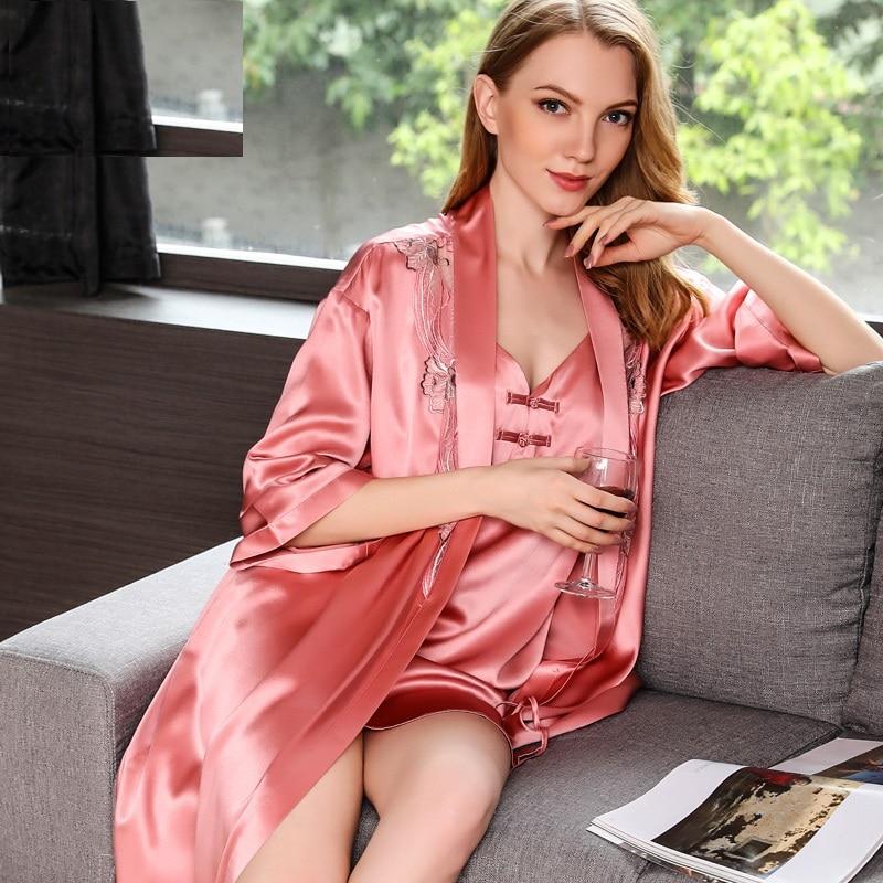 100% Silk Robe and Gown Set Women 2019 Silk Stain Lace Embroidery Red Pink Blue Sleepwear Dress Nightdress Homewear Robe Set