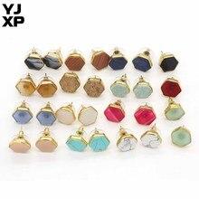YJXP attrayant couleur or hexagone vert Turquoises blanc Howlite Rose Quartzs pierre boucles doreilles pour femmes bijoux de mode