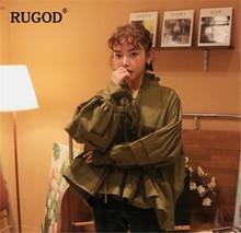 RUGOD Fashion Elegant Women Shirts Long Sleeve Solid Stand Neck Women Blouse Loose Women Tops blusas mujer de moda 2018