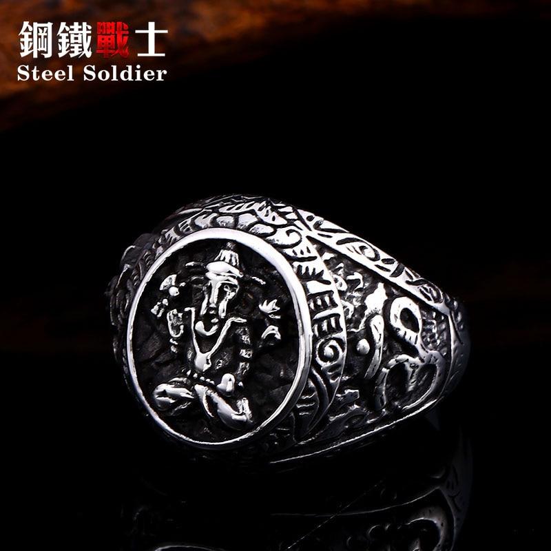 steel soldier Geneisha stainless steel ring amulet viking titnaium steel religious jewelry 2019 friend gift
