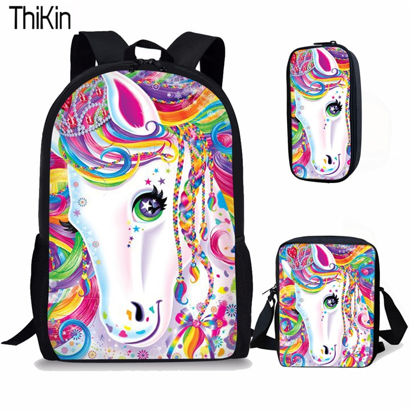THIKIN 3Pcs/set Cute Cartoon Horse Printing School Bags for Kids Primary Schoolbags Girls Large Capacity Book Satchel