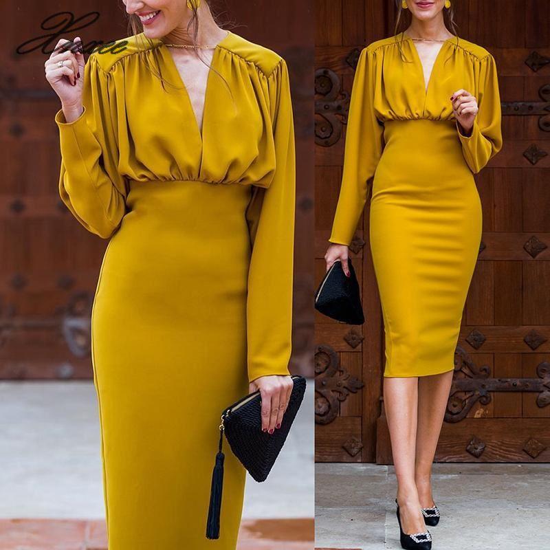2020 senhoras novo vestido amarelo elegante nobre e intelectual vestido